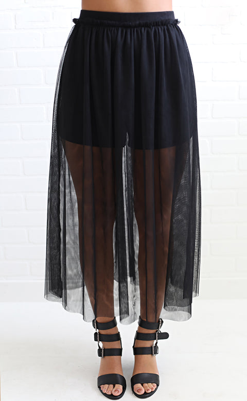 twirl around tulle skirt - black