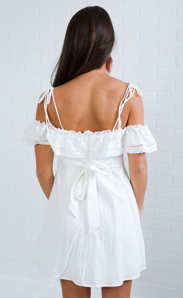 tying the knot lace dress