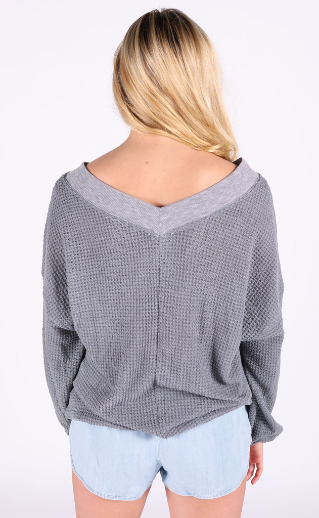 ultimate waffle knit top - grey