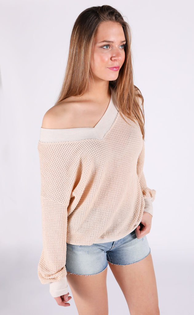 ultimate waffle knit top - taupe