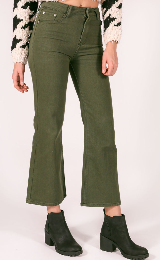 under the radar crop jeans - olive