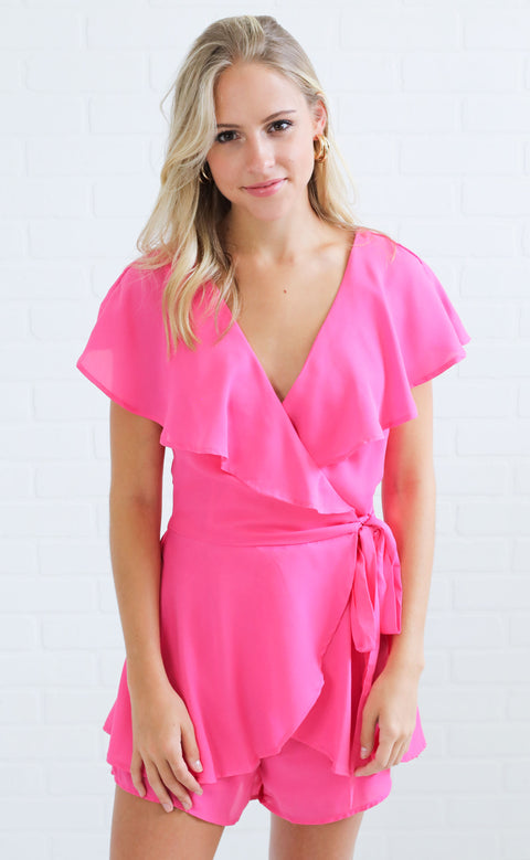 up to date wrap romper - pink