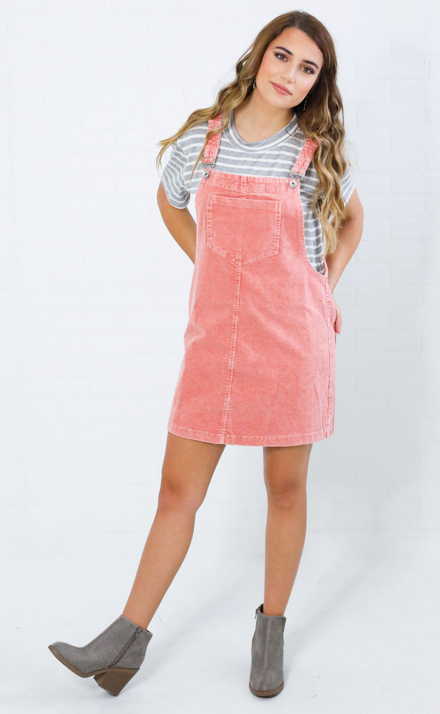 up to date corduroy overall dress