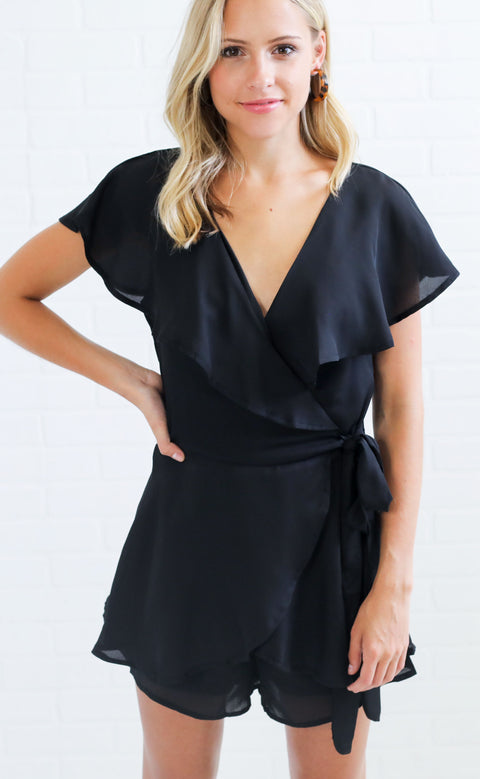 up to date wrap romper - black