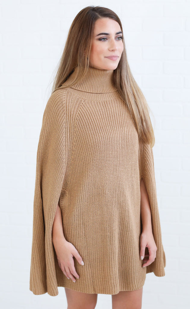 upper east side poncho sweater - brown