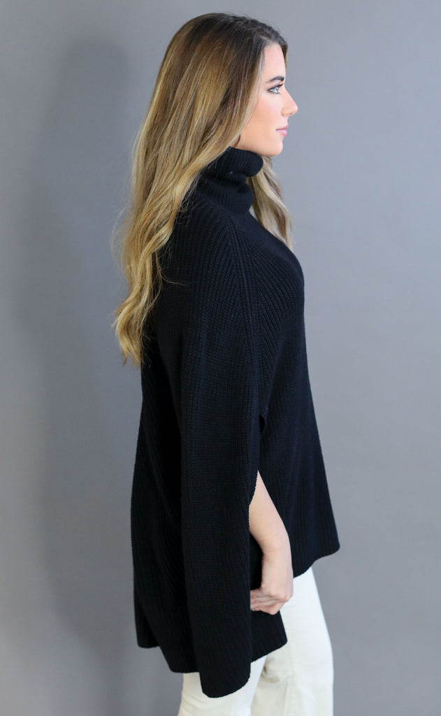 upper east side poncho sweater - black