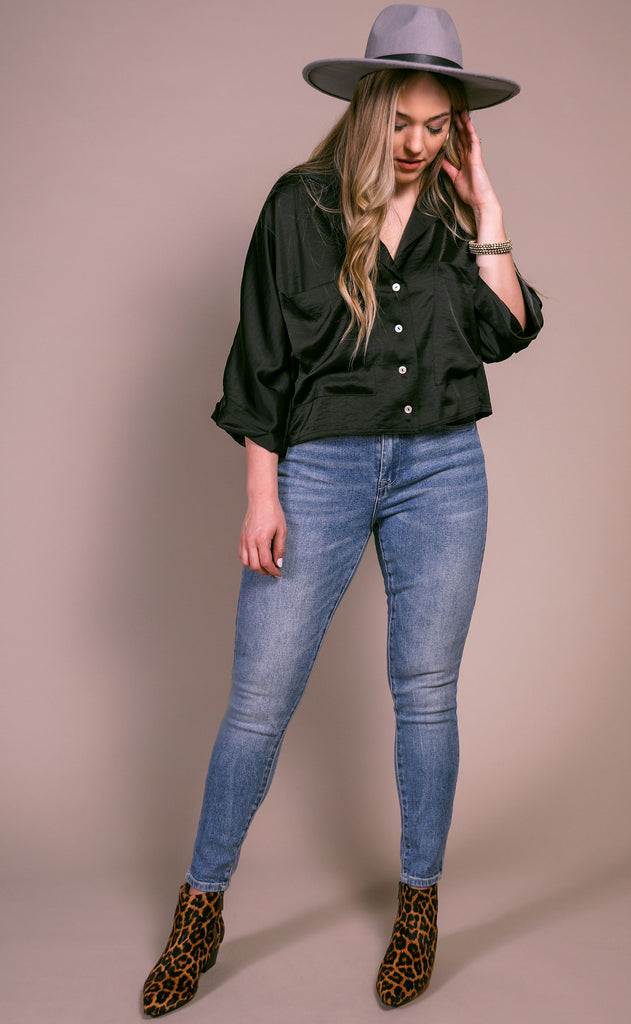 upper west side button up top - black
