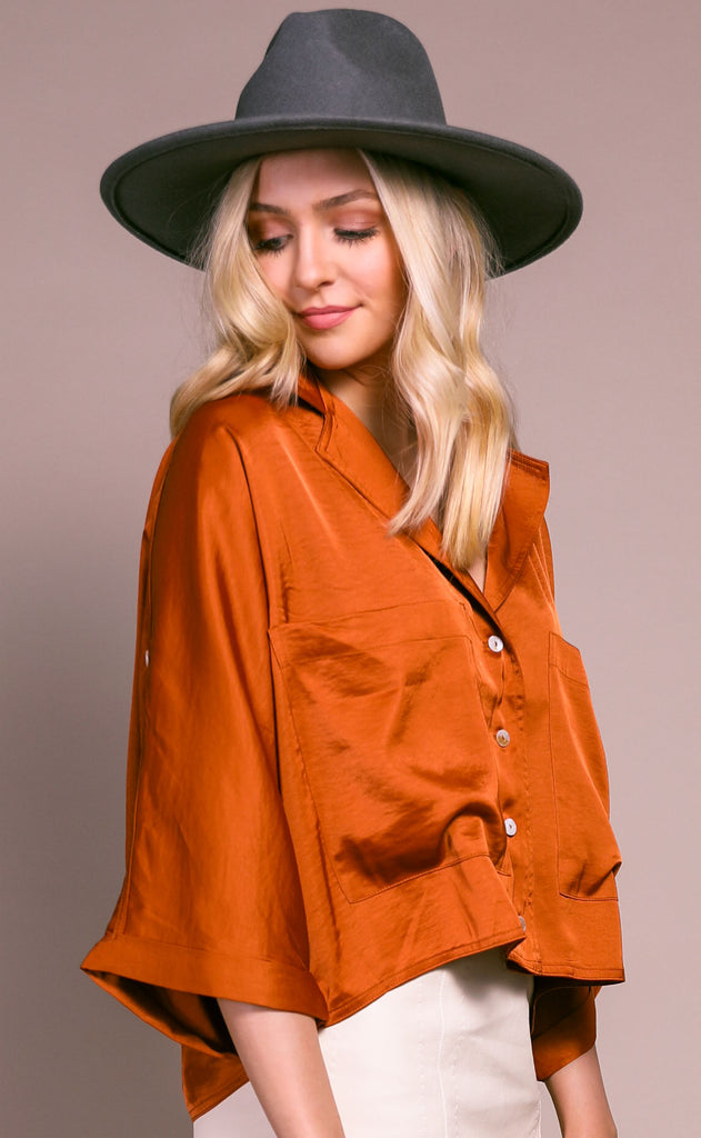 upper west side button up top - caramel