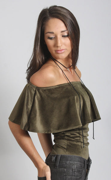 va va velvet off shoulder bodysuit - olive