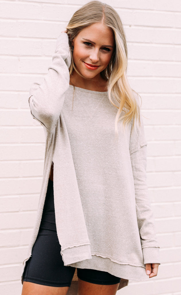 z supply: the triblend vacay pullover - simply taupe