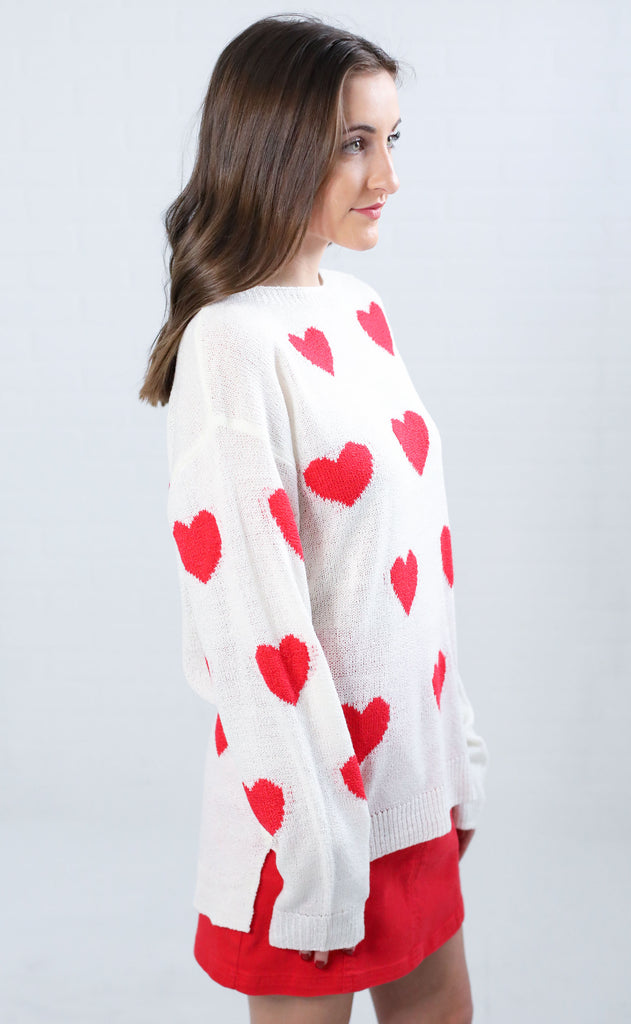 valentine knit sweater - ivory