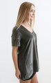velvet please pocket top - green