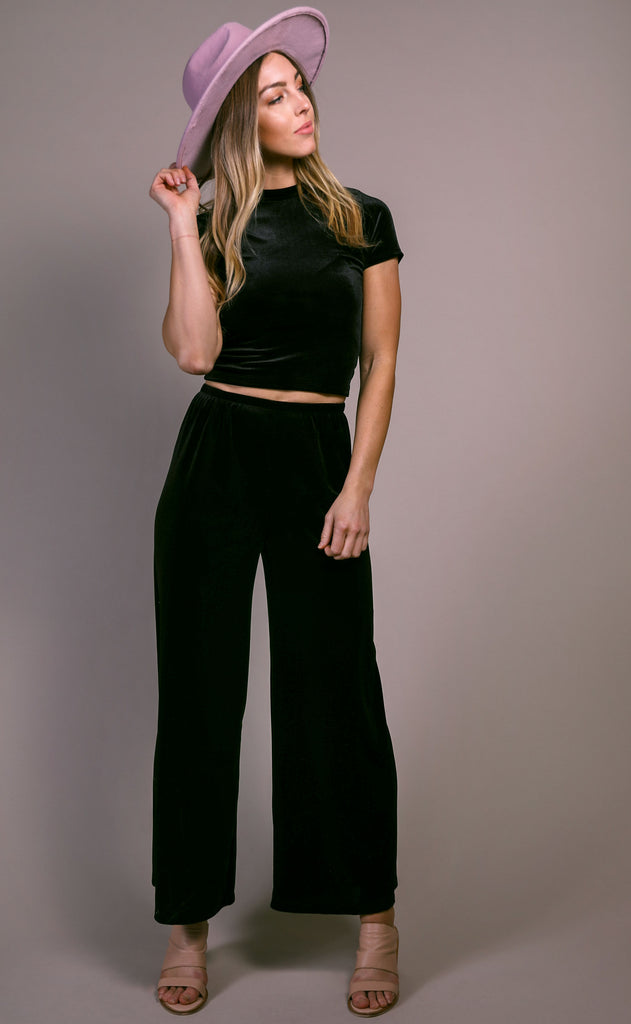 viva la velvet two piece set - black
