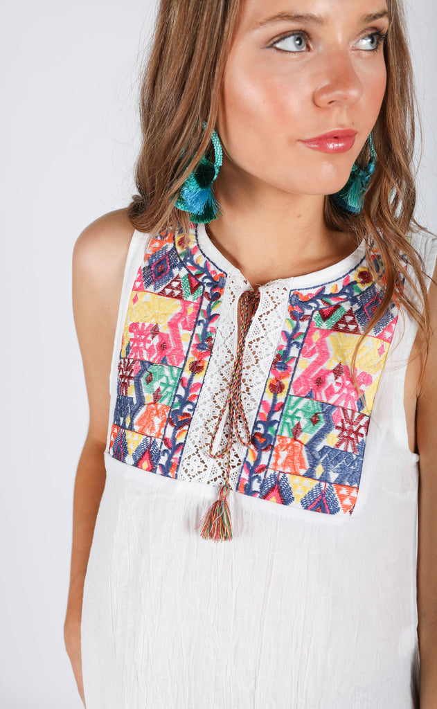 wanderlust embroidered top