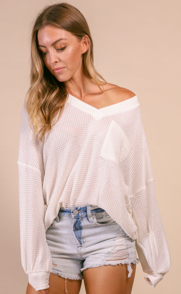 weekend waffle knit pocket top - off white