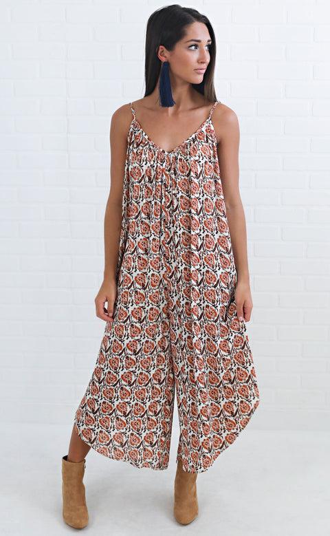 wait and see printed jumpsuit