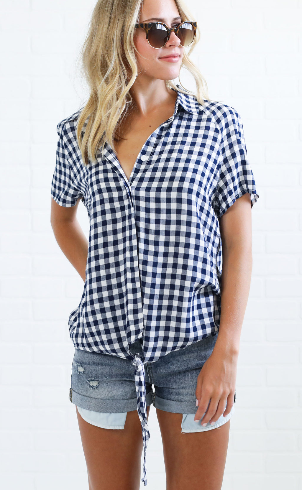 walk in the park gingham top - blue