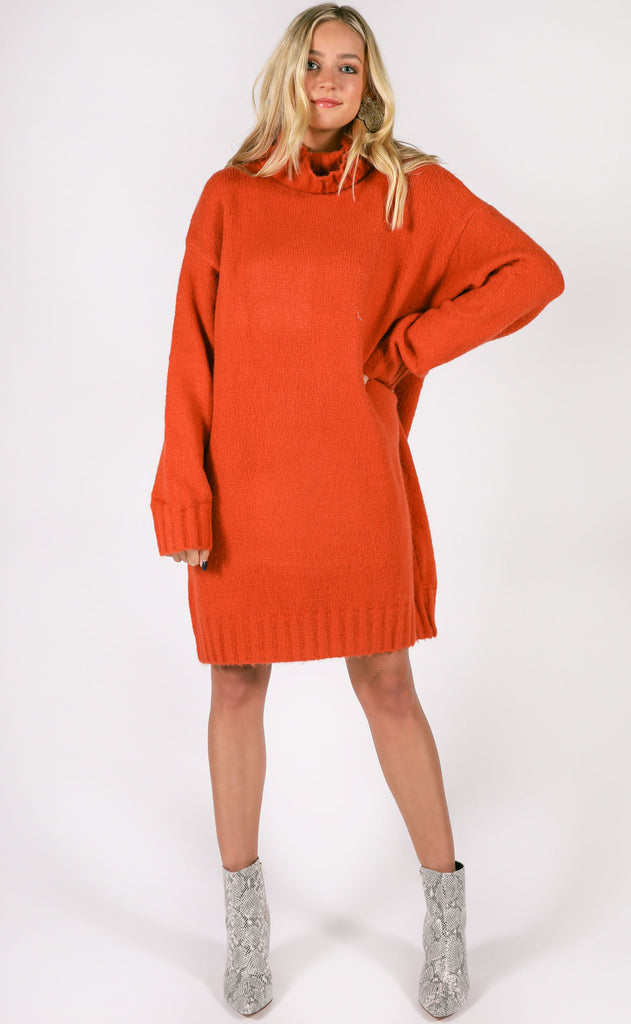 walk in the park sweater dress - rust