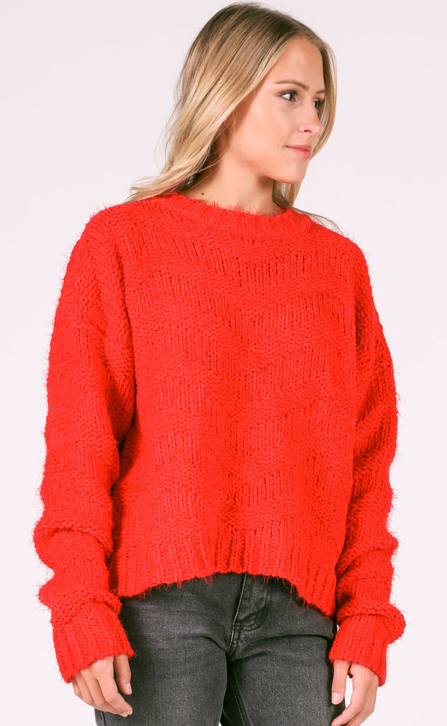 warm me up knit sweater - red