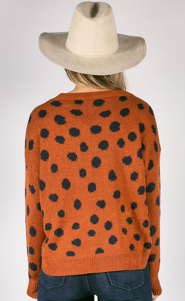 warm me up polka dot sweater - rust