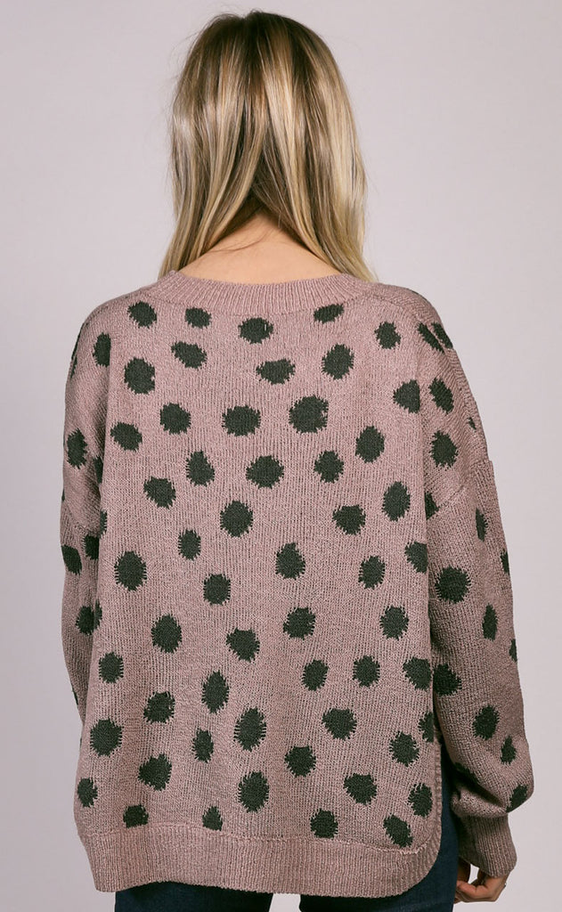 warm me up polka dot sweater - mauve