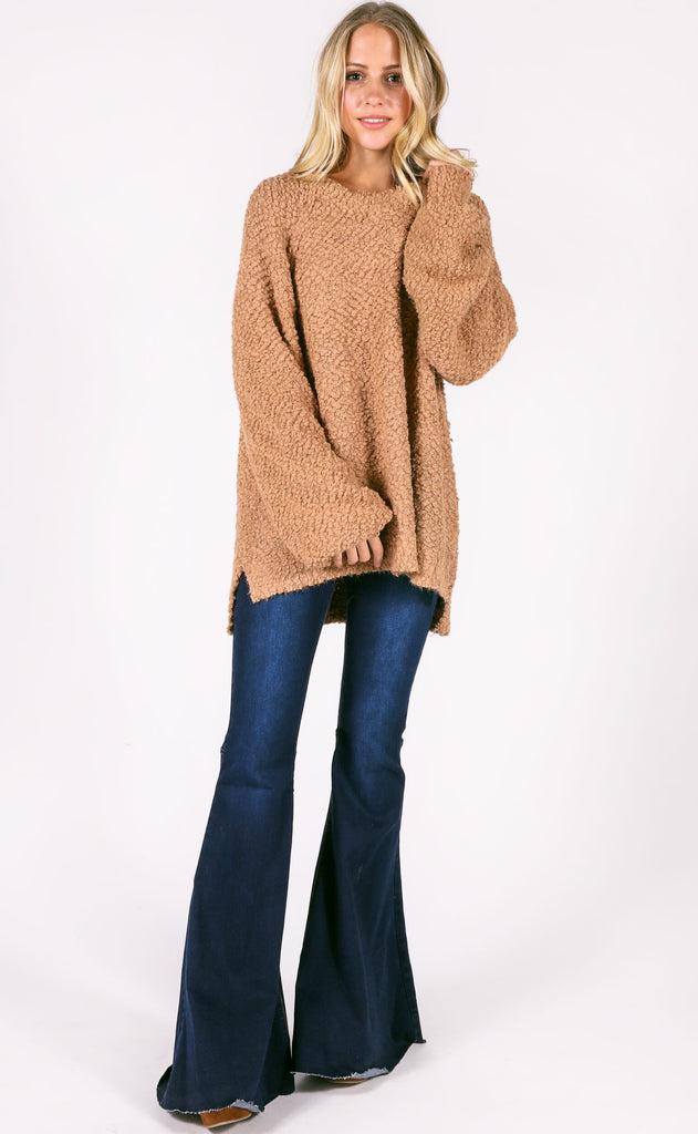 warm welcome knit sweater - camel