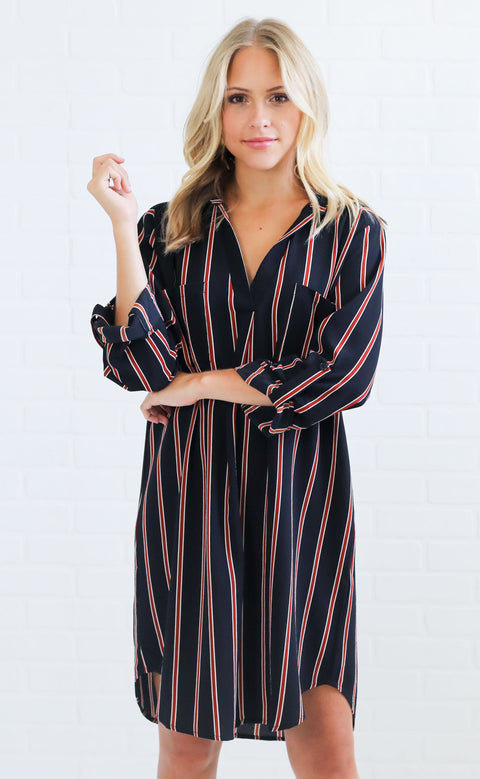 watch the sunset striped dress