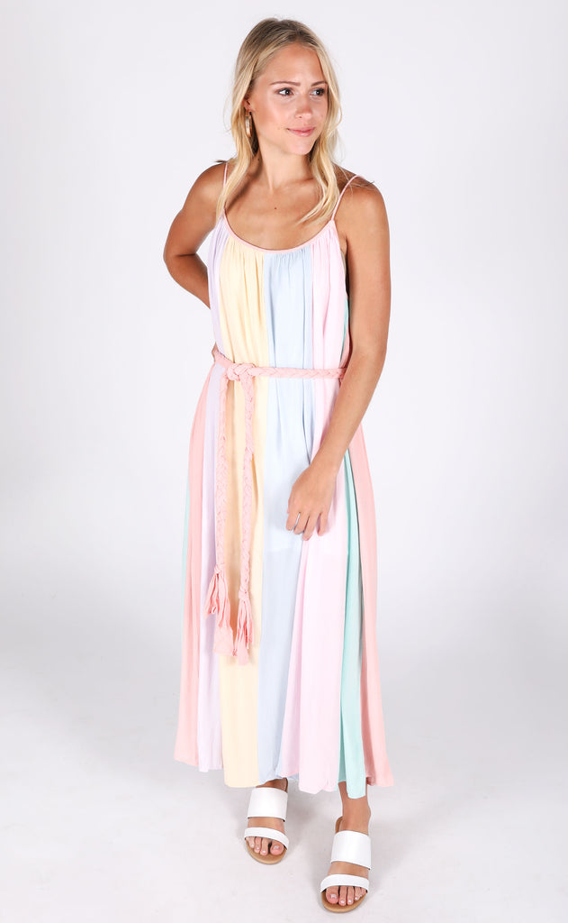 watercolor striped dress