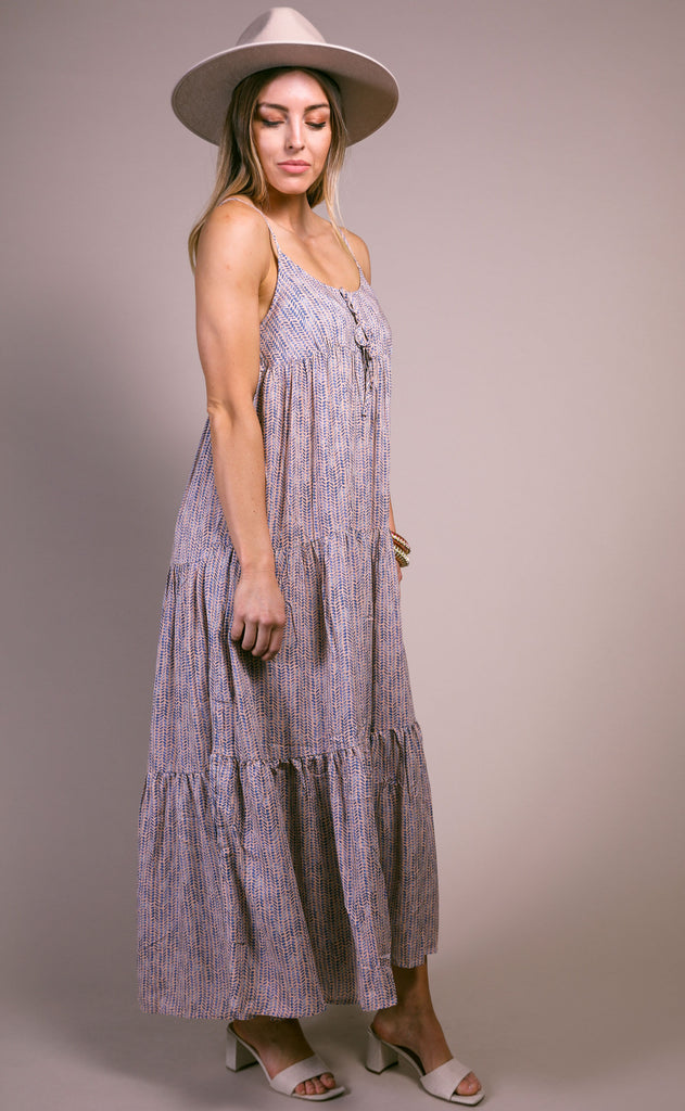 watermark tiered maxi dress