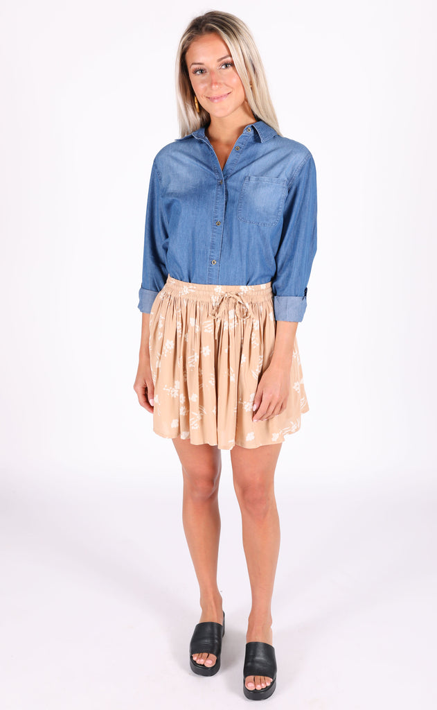 weekend chambray top - dark blue
