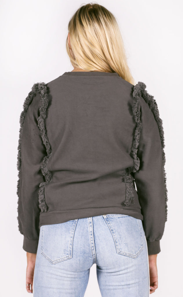 well worn fringe pullover