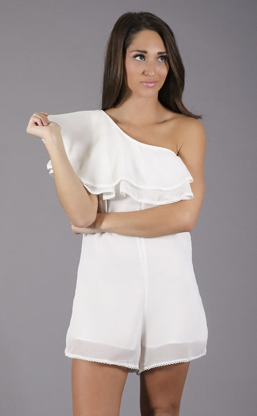 what a charmer one shoulder romper