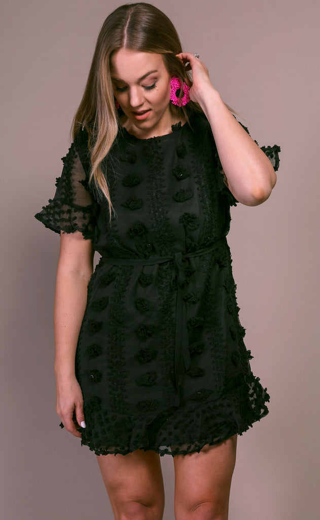 what about love textured dress - black