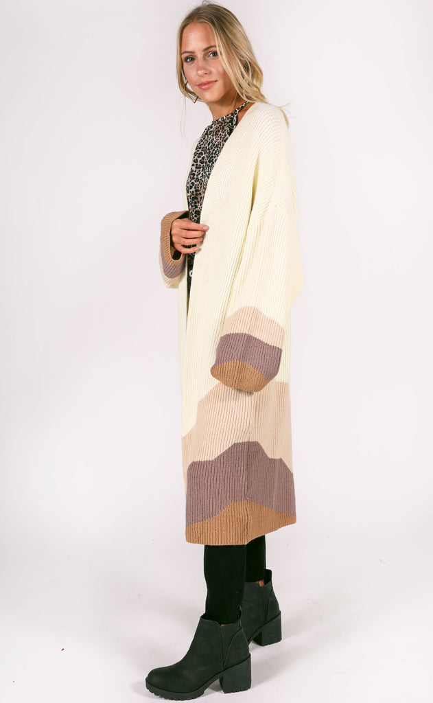 white mocha oversized cardigan