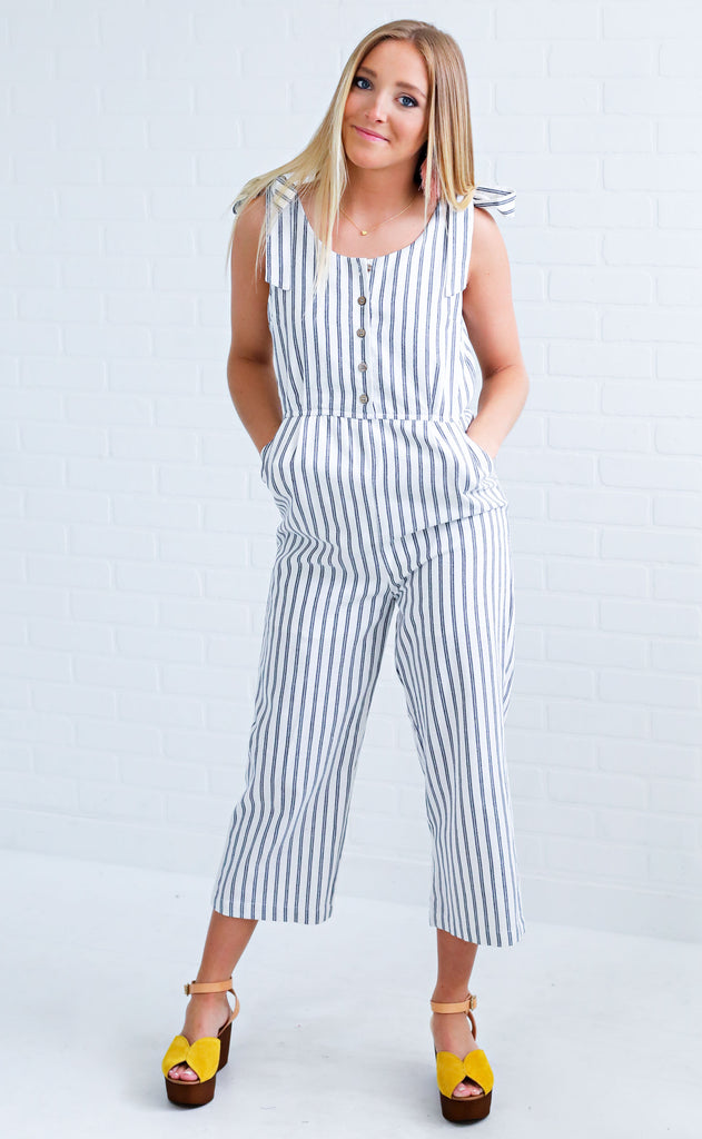wild and free striped jumpsuit - blue