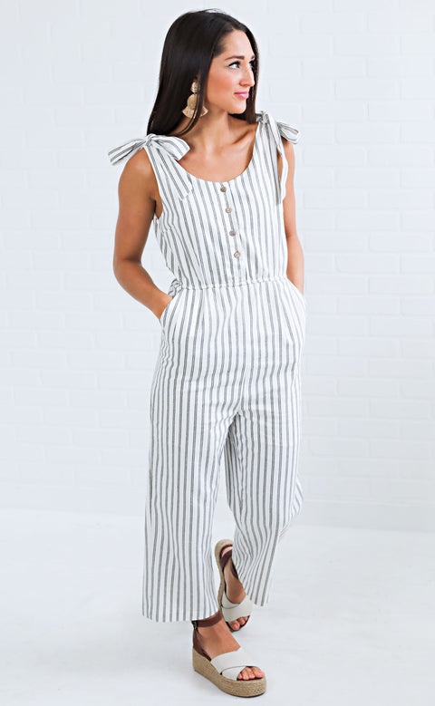 wild and free striped jumpsuit - olive