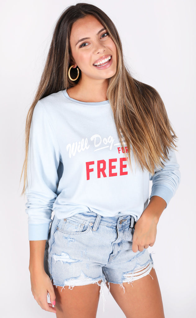 wildfox: baggy beach jumper - powder dog sit
