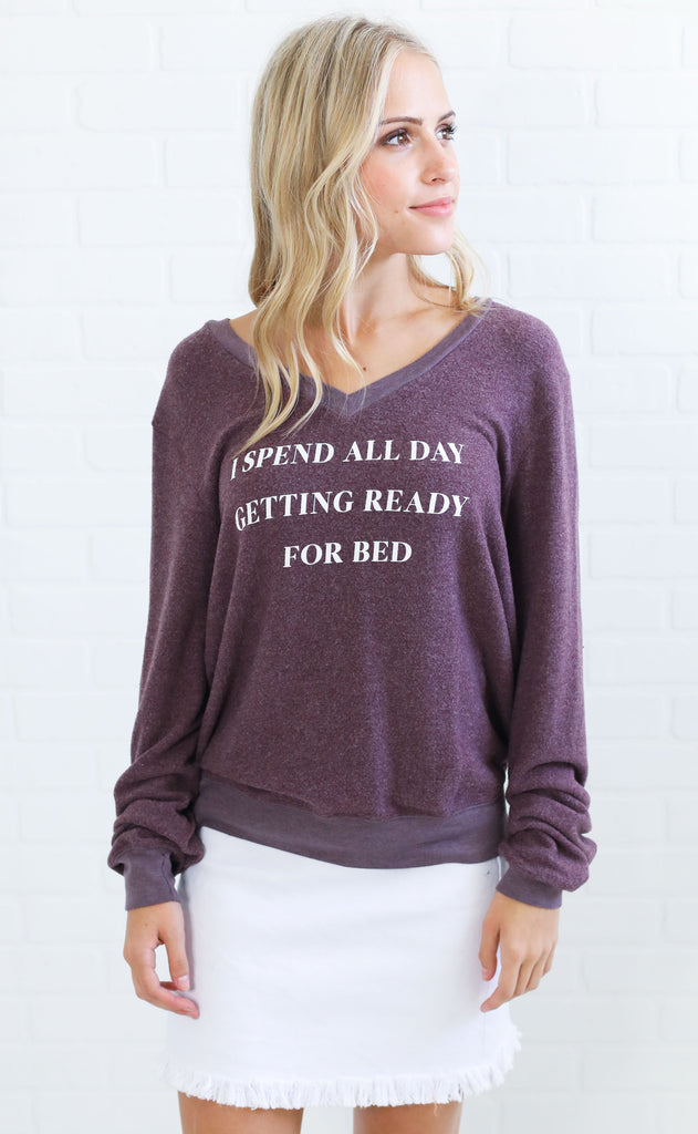 wildfox: baggy beach v-neck jumper - ready for bed