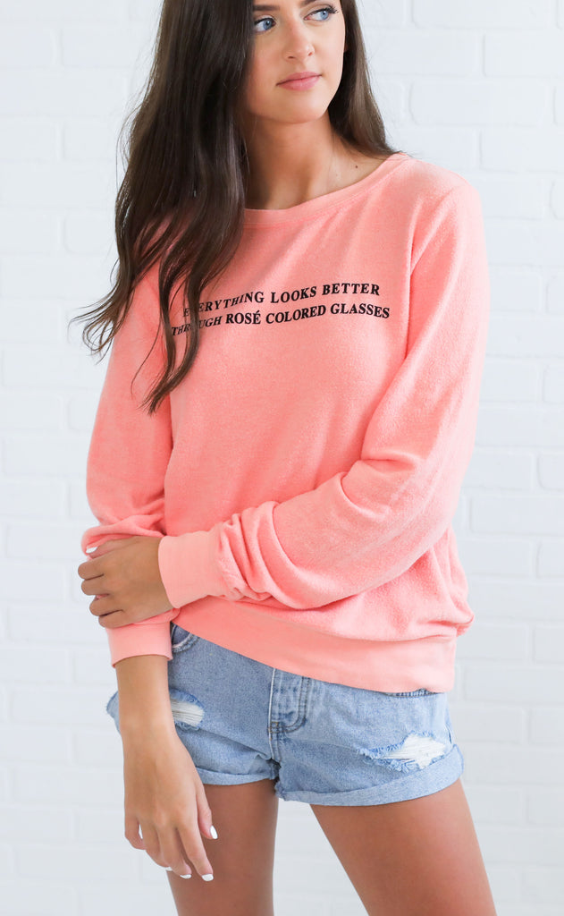 wildfox: baggy beach jumper - rose glasses