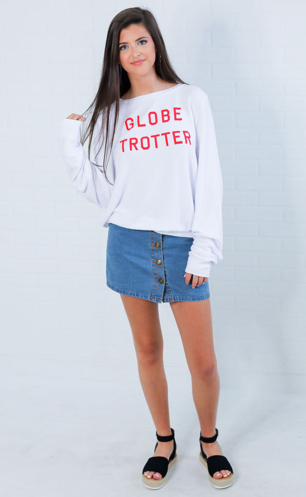 wildfox: baggy beach jumper - globe trotter