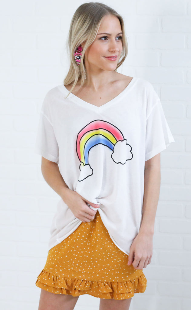 wildfox: romeo v-neck tee - rainbow airbrush
