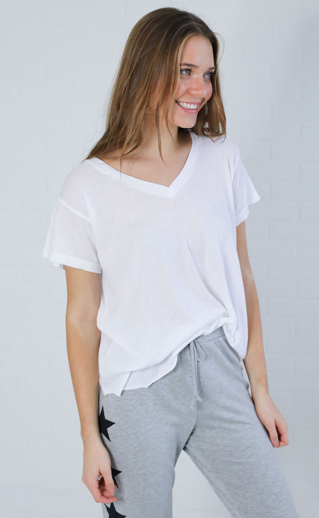 wildfox: romeo v-neck tee - clean white