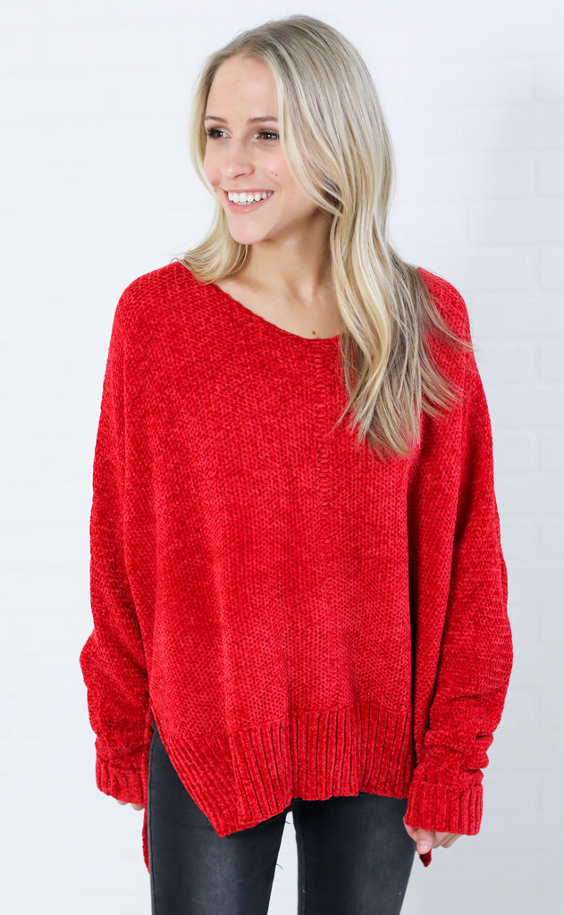 wind chill chenille sweater - red