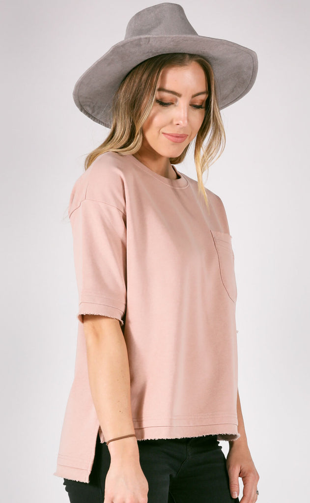 wind down short sleeve pullover - mauve