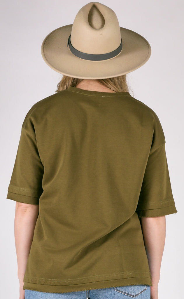 wind down short sleeve pullover - olive