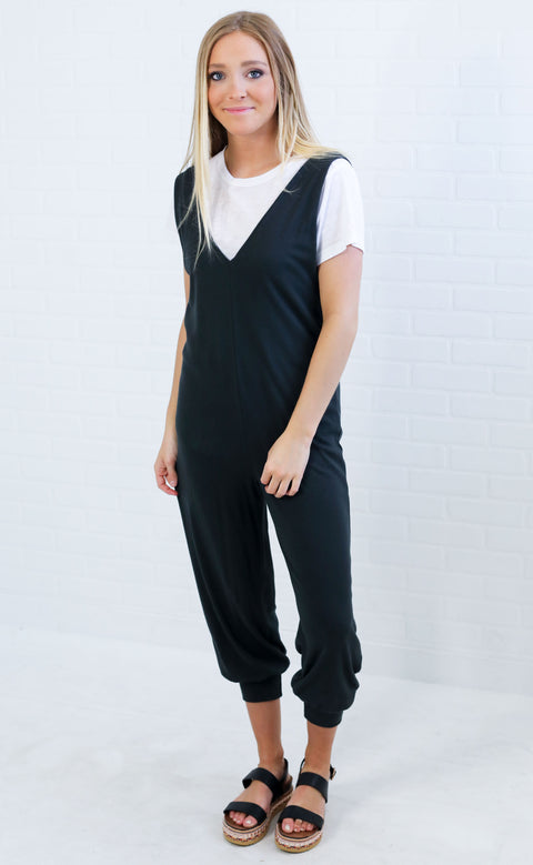 wind down slouchy jumpsuit - charcoal