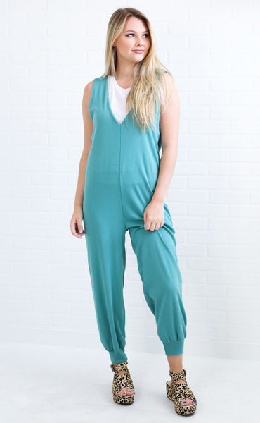 wind down slouchy jumpsuit - green