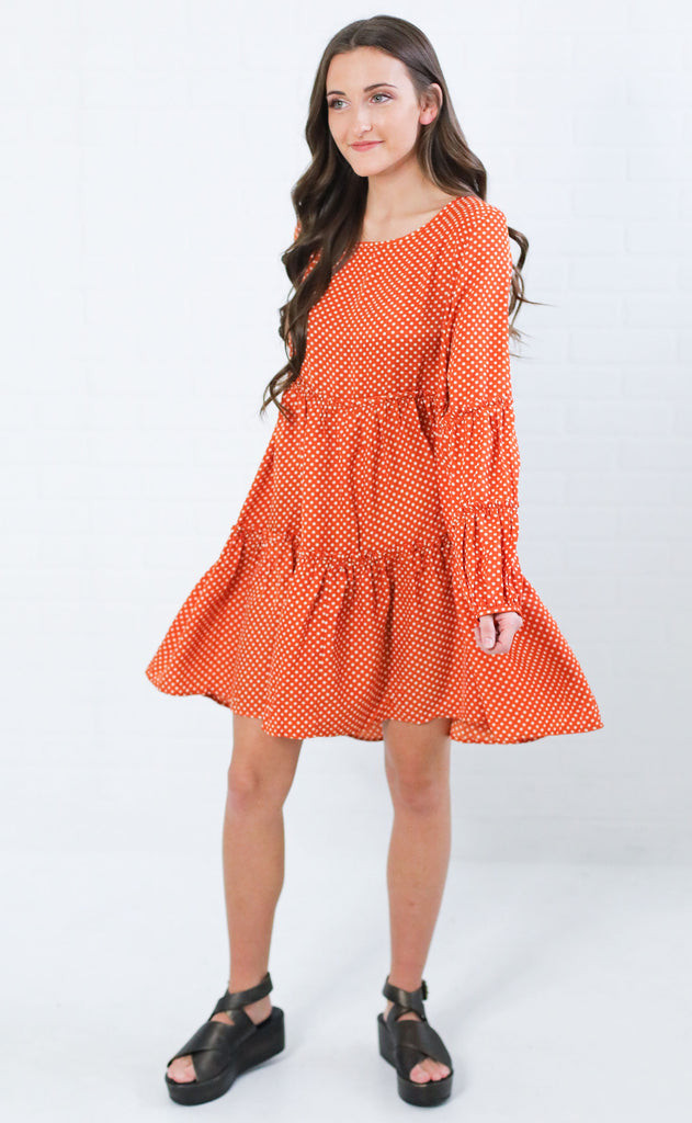 winter kissed babydoll dress - rust
