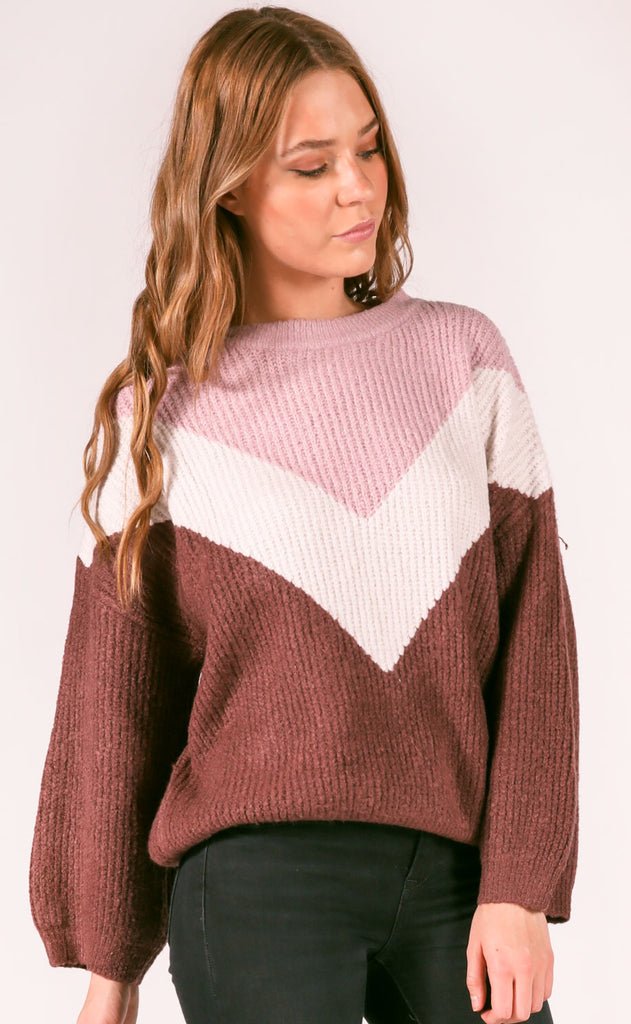 winter warmth knit sweater - plum