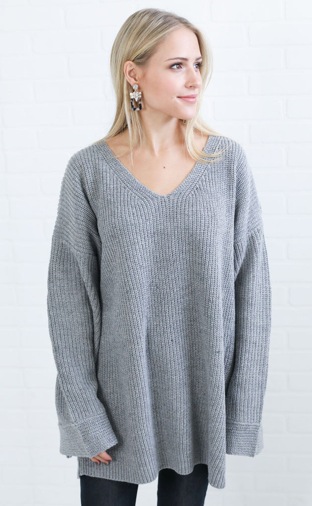wonderland oversized sweater - grey